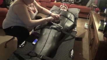 Polished and edging torture in neoprene body suit PART 1 OF 3