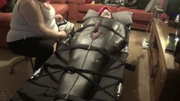 Polished and edging torture in neoprene body suit PART 2 of 3