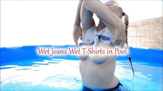 色情 - Misha Mystique 湿的牛仔裤湿的T恤在游泳池-湿的牛仔裤恋物癖的屁股恋物癖