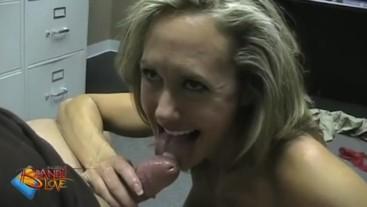 Brandi Love sucks a hard dick in the office