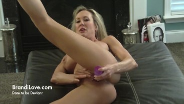 Brandi Love cheers up her friend's son by toying with her pussy for him
