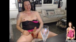Shemale Transsexual Cumming in a Champagne Glass LIVE cam show