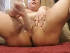 Horny ftm trans boy stuffs his cunt with a magic wand, squirts everywhere