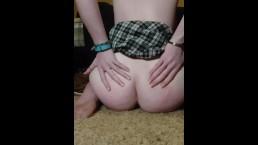 Slutty school girl cums from anal