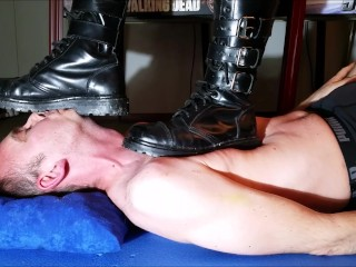 Dimension w porn trampling with undercover boots., trampling boots leather boots headstand
