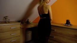 Rough anal fuck from behind. spanking blonde teen in stocking