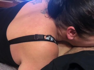 Chubby boy xxx gettin my dick sucked by the white milf. Huge load, slow motion cumshot hooker ball sucking
