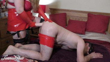 Pegging Him with My Biggest Anal Dildo Yet ! His Slut Ass Drinks the Lube