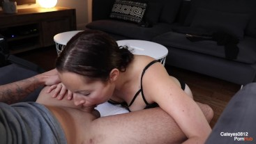 My first DEEPTHROAT !!! I try to cum him into my mounth