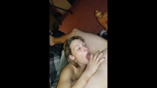 Daddy's girl getting throat fucked