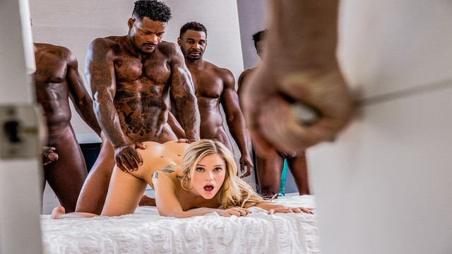 Gobblin da dick Blacked kali rose gets passed around by six bbcs