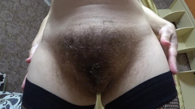 Very hairy lesbian - Milf in early pregnancy, very hairy pussy, big nipples