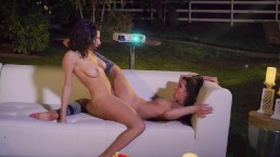 Babes - Milana grinds her pussy with Darcie in her outdoor home theater