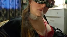 Smoke fetish and slave humiliation human ashtray !