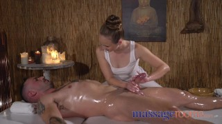 massage Rooms Petite nymph gives blowjob and hand job to make cock tremble