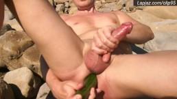 Cucumber Solo Male Anal Creampie on Rocks - Lapjaz.com Ecosexual Ecoporn
