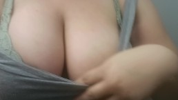 Playing With My Big Tits Between Classes (;