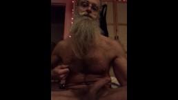 Self-Suck Sitting and Standing grey beard slim nerd hairy