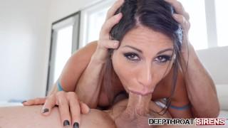 Big Tit Brunette Makayla Cox Deepthroating And Swallowing Cum
