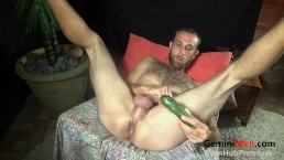 HOT HAIRY & HUNG FUCKED WITH ZUCCHINI!!!!!