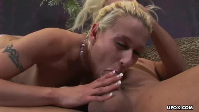 Blonde cock sucker, Izzy Lush is eagerly slurping fresh cum