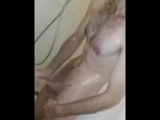 4k Mature solo male showering with big dick. (Bottom Camera)