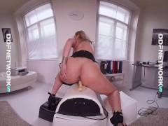 VR scene shows hot Blonde Nikky Dream riding Sybian Fucking Machine in POV