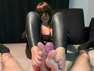 Boy dick xxx footjob in leather pants 4k, kink big cock mom mother point of view leather