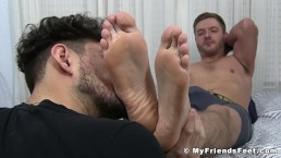 Cumming Sean Holmes wakes up during feet worship