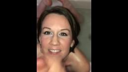 CUTE amateur MILF sucks cock like a pro