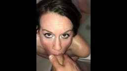 Sexy WIFE swallows hot load in the bath tub