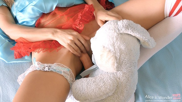 Miss bunny sex videos - Tiny teen miss alice fucked by her bunny toy - big cock in tight pink pussy