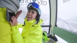 4K Public cumshot on mouth in ski lift Part 2