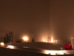 Sarah takes a bath in the Bathroom, plays with Jacuzzi lights the candles