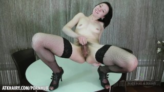 Liza James fingers her hairy pussy for you