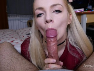Hot Stepmom Blowjob Teen gamer sucks and deepthroat daddys cock league of legends