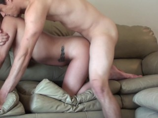 Daytime Fuck, Tanlines Girlfriend Riding & Huge Cumshot On The Couch Hi Def