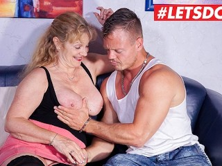LETSDOEIT - Busty German Housewife Pussy Fucked On The Sofa