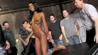 Beautiful Ebony Kandie Monaee Is Blowing Twelve Horny White Dudes