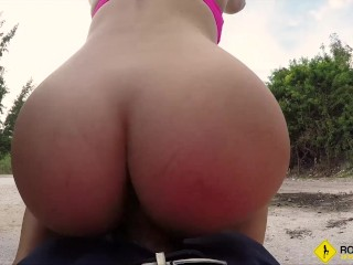 Roadside – Natalie Brooks gets her tight pussy fucked on a public road