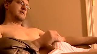 Burly stud Jack helped cum with black homos tongue