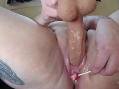 BBW Fucks Fat Pussy and Makes Creamy, Juicy Cum Lollipops