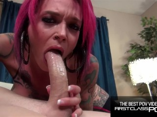 Tattooed Redhead loves to suck monster cock, Anna Bell Peaks -FirstClassPOV