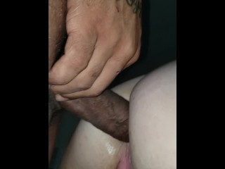 Slowly easing huge bbc in my wife right asshole!!
