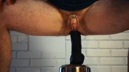 Locked in Chastity bbc dildo ride