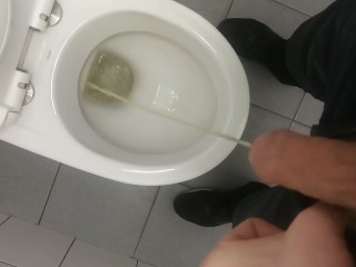 Pissing with cock ready to explode thats really...
