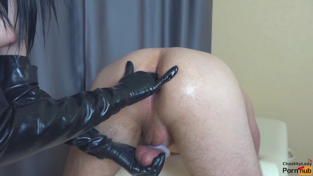 Chastity belt sex Femdom prostate milking in chastity belt with strapon cum in ass my slave