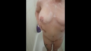 Multiple orgasms while standing in the shower! Can you count how many?