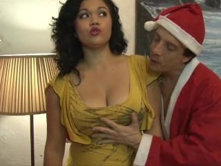 Chubby Latina Kat Ride On Santas Stiff Cock