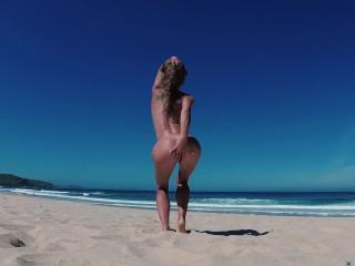 TRAVEL NUDE – Sasha Bikeyeva Undressed On The Public Beach Doniños in Spain